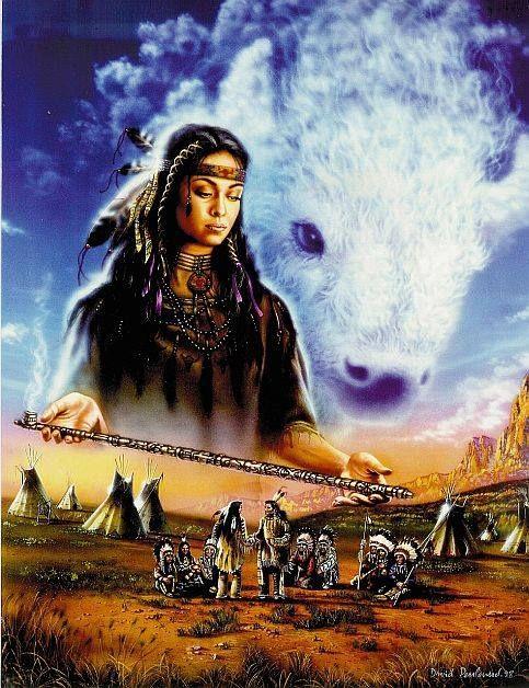 Mulher Búfalo Branco Sioux xamanismo cachimbo